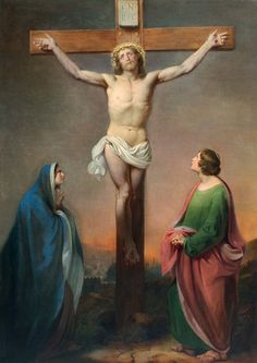 "Ignaz Dullinger (missing Austrian Nazarener, born 1808) ""Mourning at the Sight of the Crucified Jesus"",signed&dated 1839"