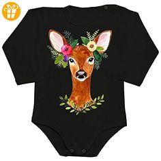 Beautiful Doe With Flowers Crown Baby Romper Long Sleeve Bodysuit Extra Large - Baby bodys baby einteiler baby stampler (*Partner-Link)
