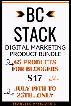 BC Stack by Fearless Affiliate. Get ready for blogging bundle that is full of new and interesting products to help you get success faster! This bundle is only available for a few days in summer...get on the list to be notified when it's live. BC Stack. Digital Marketing. Digital Marketing Bundle. Digital Marketing Strategy. Digital Marketing Tools. Digital Marketing Tips. Digital Marketing Plan. Blogging Tools. Blogging Resources. #bcstack #digitalmarketing #bloggingtools #bloggingbundle