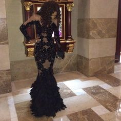 80820ca38b19 Luxury Feathers Black Long Sleeves Prom Dresses 2015 Beaded See Through  Champange Tulle Evening Dress Mermaid