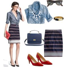 Chambray + striped pencil skirt + statement necklace + pop of red by jcrewlvr on Polyvore