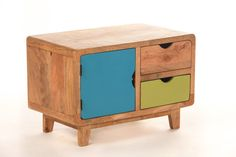 Tv Cabinet low wood colored 2 drawers 1 by sweetmangofrance