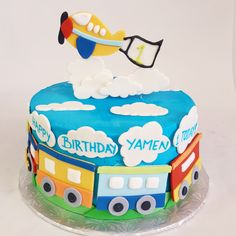 Planes and Trains! This cake is too cute too eat... almost!