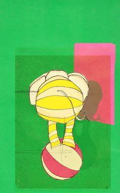 ensaios de dois elefantes de Circo | catarinapreto ilustração
