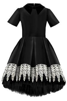 652c08840d80b5 Black Raw Silk High-Low Girls Dress with French Collar | Lazy ...
