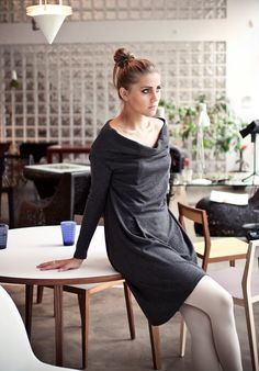 Deep grey open shoulders LeMuse cotton dress by LeMuse on Etsy, $85.00