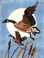 """Moongeese 27"""" x 36"""" latch hook rug kit. Kit comes complete with stamped 3.3 mesh latch hook canvas, pre-cut yarn is 2 x 3 ply acrylic rug yarn (equivalent to 6 ply) and complete instructions."""