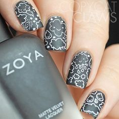 This adorable #kawaii stamping image is from @uberchicbeauty 8-03. I using @zoyanailpolish Dovima as a base color to try to give it a bit of a chalkboard feel. | Copycatclaws