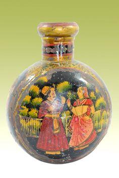 Vintage beautiful decorative Rajasthani painting Iron Flower Pot/Vase. G41-98