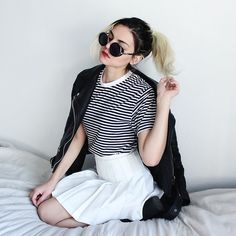 American Apparel Unisex Poly Stripe Crew Neck, Elite99 White Tennis Pleated Skirt, Oasap Vegan Leather Jacket Moto, Freyrs Silver And Black Round Sunglasses