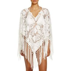 Surf Gypsy Fringe Lily Poncho Swim Cover Up ($75) ❤ liked on Polyvore featuring swimwear, cover-ups, white, white beach cover up, fringe cover up, cover up beachwear, beach cover up and white poncho