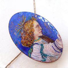 Painted miniature, fired enamel / Penjolls tradicionals, sèrie Icones /  Miniatura pintada por MNesmalts,