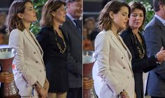 Charlotte Casiraghi looks radiant in Monaco 28 Jun 2013 ( this looks suspicious... is Charlotte pregnant? She is usually so thin, but seems to be sporting a bump. And in the second picture she seems quite uncomfortable and her mother is looking in the direction of her tummy... Hmmmm)