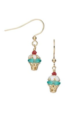 Cupcake Earrings with Czech Pressed Glass Beads, Swarovski® Crystal Beads and Gold-Plated Bead Caps