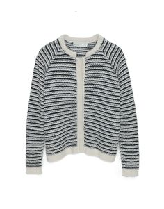 Cardigan in thick structured bubbled knit. Raglan sleeves, round-neck and inside push buttons. Elastic feeling from the striped mix between thin and thick yarns. Contrasting colors. Long sleeves with ribbed edges.
