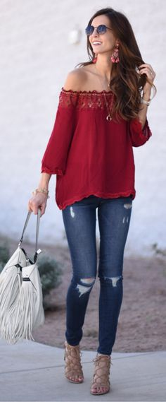 ad3bb5e8e262  spring  outfits Red Off The Shoulder Blouse  amp  Ripped Skinny Jeans  amp