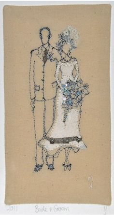 Embroidered bride and groom