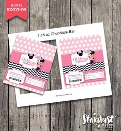 CHOCOLATE BAR WRAPPERS Minnie Mouse Printable Kids Party Creative Model SD013-09