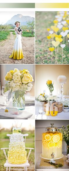Bride to Be Reading ~ Lovely ombre yellow wedding color inspiration for spring Wedding Color Combinations, Wedding Color Schemes, Fall Wedding Decorations, Wedding Themes, Wedding Ideas, Wedding Favours, Yellow Wedding Colors, Yellow Weddings, Yellow Wedding Cakes