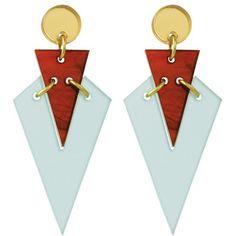 Toolally Mini Art Deco Drop Earrings , Mint/Amber (3.305 RUB) ❤ liked on Polyvore featuring jewelry, earrings, orecchini, round stud earrings, two tone earrings, amber earrings, mint green jewelry and mint green drop earrings