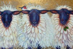 SHEEP IN PAINTINGS AND ART | sheep Painting by Gill Bustamante - the Christmas sheep Fine Art ...