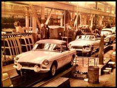 MGB Roadsters being assembled at Abingdon British Car, British Sports Cars, Vintage Sports Cars, Vintage Race Car, Mg Cars, Convertible, E Type, Car Engine, Sport Cars