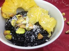 Milchreis Black Coconut Rice Pudding Coconut Rice, Acai Bowl, Pudding, Breakfast, Black, Food, Desserts, Rice, Acai Berry Bowl