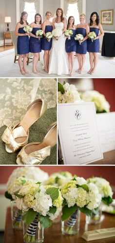 white & green bouquets tied with stripe ribbon