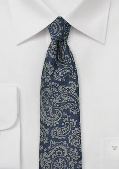 Krawatte Paisley-Muster nachtblau