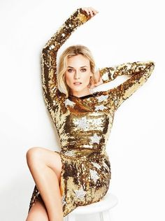 Diane Kruger by Ben Watts for InStyle Magazine Gold Sequins, Gold Sparkle, Gold Glitter, Gold Dress, White Dress, Glitter Dress, Le Bourgeois Gentilhomme, Gold Everything, Gold Fashion