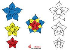 Ecuson în forma de floare pentru 1 Decembrie 1 Decembrie, Red Party, Adult Coloring Pages, Preschool Activities, Blue Yellow, Diy And Crafts, Cross Stitch, Printables, Tudor