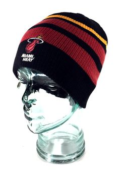 761b0516f50 Style  Cuffless   Fitted   Reversible. Reversible Striped Skully Knit Beanie.  Miami Heat