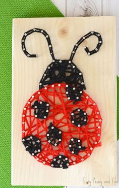 String Art Adorable ladybug string art for kids, perfect project for beginners and kids allikeAdorable ladybug string art for kids, perfect project for beginners and kids allike String Art Diy, String Crafts, Yarn Crafts, Spring Crafts For Kids, Art For Kids, Ladybug Crafts, String Art Patterns, Woodworking Projects For Kids, Craft Activities For Kids