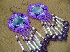 rossette stitch beaded Native American inspired earrings with mirror cabachons via Etsy