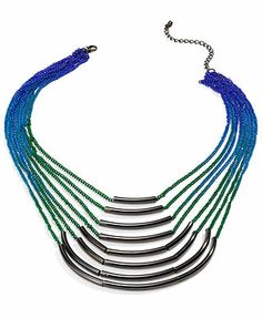 Material Girl Necklace, Gunmetal-Tone Rainbow Ombre Chain Necklace
