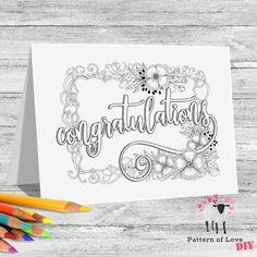 Congratulations Coloring Printable Note Cards | Etsy Creative Pumpkins, Jw Gifts, Pumpkin Decorating, Color Card, Printable Coloring, Note Cards, Card Stock, Congratulations, Notes