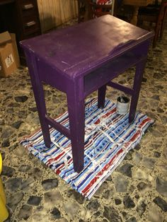 Purple table before.