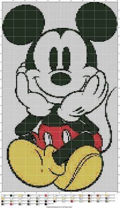Diy Crafts - Mickey Mouse Sitting (Graph AND Row-by-Row Written Crochet Instructions) - This crochet graphghan pattern is 155 x 255 squares, and Disney Cross Stitch Patterns, Cross Stitch Designs, Disney Crochet Patterns, Crochet Disney, Cross Stitch Charts, Cross Stitching, Cross Stitch Embroidery, Cross Stitch Fairy, Crochet Mickey Mouse