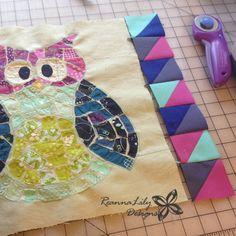 Half Square Triangle Border | Ticker Tape Owl Quilt | ReannaLily Designs | Jen Eskridge