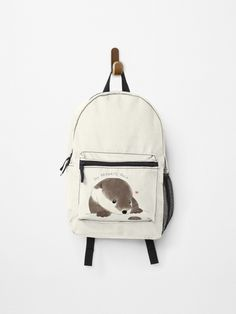 beanming shop | Buy the cutest sea river otter with paws and his favorite rock minimal school backpack bag design. This is a perfect gift for pet, animal, or otter lovers! #beanming #bibis #otter | Cute otter | Cute animals | Cute illustration | Cute Design | Cute bag | Aesthetic design | Cute otter Drawing | Cute backpack