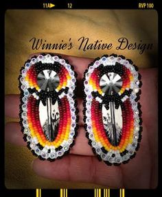 NativeTech: Porcupine Quillwork: Quill Wrapping on Rawhide Beaded Earrings Native, Native Beadwork, Native American Beadwork, Seed Bead Earrings, Beaded Jewelry, Loom Beading, Beading Patterns, Beadwork Designs, Native Design