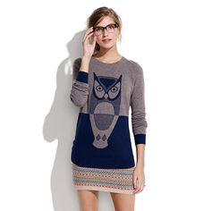 Owl Sweater (the styling here is so weird - i have no idea why she's wearing this bizarre mini sweater skirt)