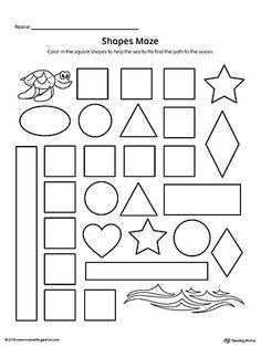 7 Worksheets Color the Pattern Square Shape Maze Printable Worksheet Mazes For Kids Printable, Shape Worksheets For Preschool, Shapes Worksheets, Kindergarten Worksheets, Printable Worksheets, Free Printable, Preschool Shapes, Shape Activities, Writing Worksheets