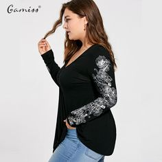 4519fbced6897 Women Sexy V Neck Floral Pattern Long Sleeve Draped T-Shirt Casual Femme  Loose Tops Tees Plus Size XL-5XL Price  21.64   FREE Shipping  computers   shopping ...