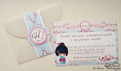 convite artesanal infantil provençal oriental japonês kokeshi flor de cerejeira aniversário 1 aninho criança azul                                                                                                                                                                                 Mais