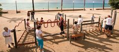 These outdoor playgrounds have been popping up in Spain that allows older folks to have a bit of fun. Public Radio International shared the video above about playgrounds for senior citizens. Outdoor Gym, Outdoor Workouts, Outdoor Fitness Equipment, No Equipment Workout, Senior Living Communities, Playground Design, Health And Wellbeing, Citizen, Playgrounds