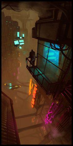 Post with 1184 views. Image dump from my cyberpunk/sci-fi favorites folder. Cyberpunk City, Cyberpunk Kunst, Cyberpunk Aesthetic, Futuristic City, Science Fiction Kunst, Arte Assassins Creed, Bg Design, Robot Design, Arte Ninja