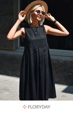 Solid drop waist sleeveless midi A-line dress, calssic, fashion, preorder. Skirt Outfits, Casual Outfits, Simple Dresses, Summer Dresses, French Outfit, Latest Fashion For Women, Womens Fashion, Summer Hats For Women, Women's Fashion Dresses