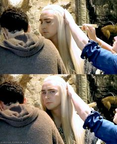 OMG... can I... may I touch it, too? *stares and dies*   Lee Pace behind the scenes of The Hobbit