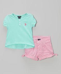 Loving this Frozen Aqua Button Tee & Pink Shorts - Infant, Toddler & Girls on #zulily! #zulilyfinds